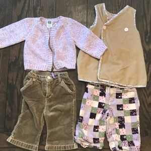 Two Mix & match GAP outfits velvet soft material